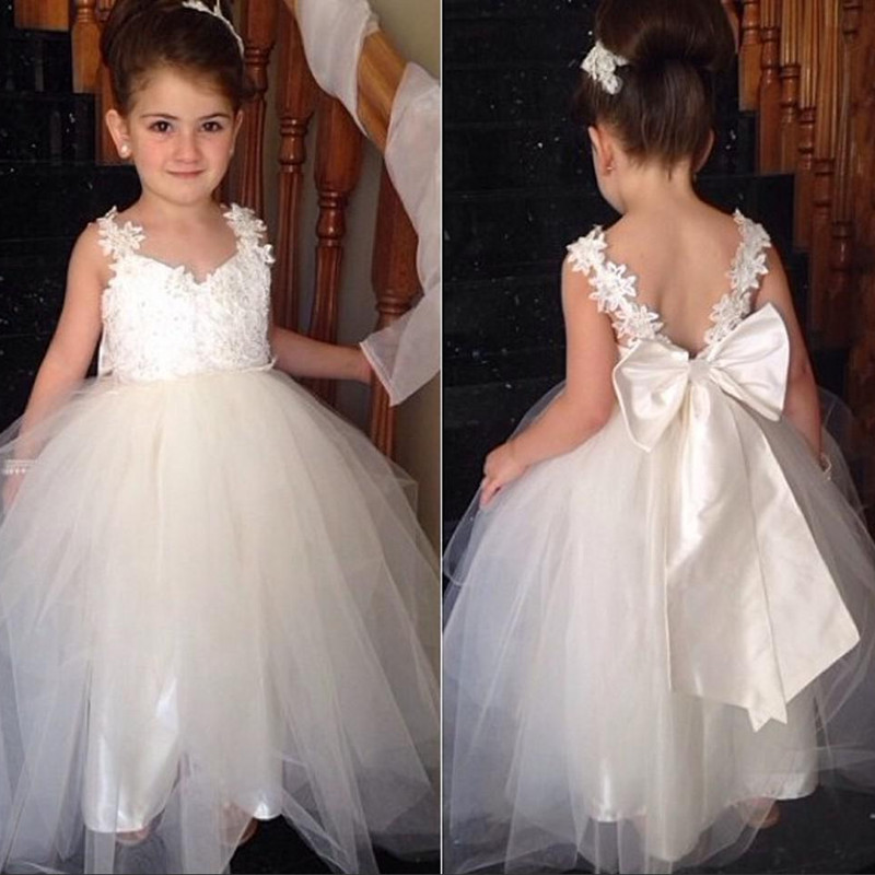 Ivory Tie-Straps Tulle Girls Dress Birthday parties specially for flower girls