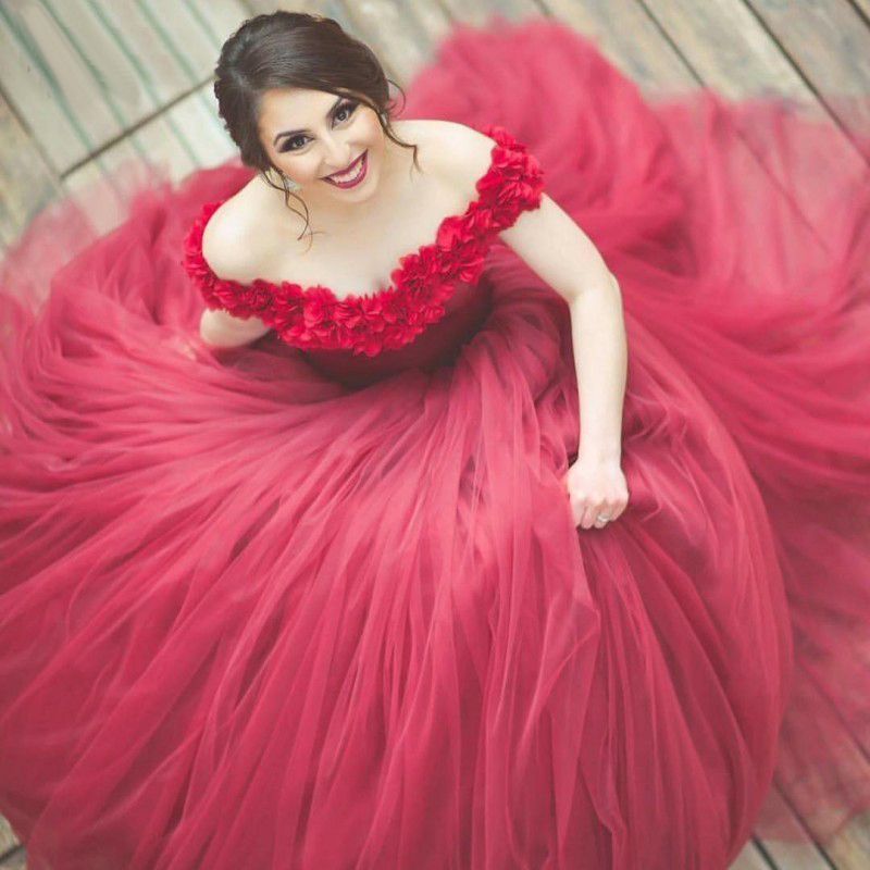 Flower Off Shoulder Tulle Prom Dresses Engagement Ball Gowns 2018 ...