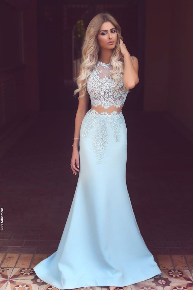899eeaf8d8 Prom Dresses,Long Prom Dresses,Baby Blue Two Piece Evening Dress Long Lace  Mermaid 2017 Prom Dresses on Luulla