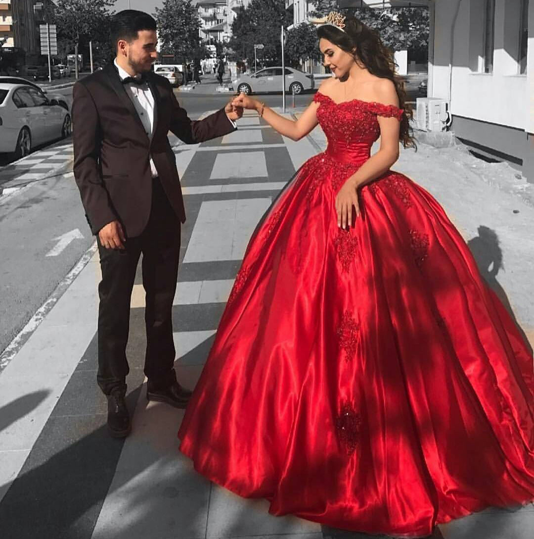 Lace Corset Off Shoulder Red Satin Bridal Engagement Ball Gown Wedding Dresses Bride Formal Prom Evening Gowns Dress